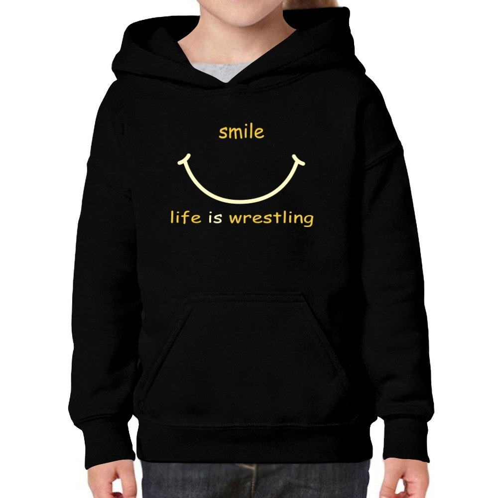 Teeburon Smile Life Is Wrestling Girl Hoodie