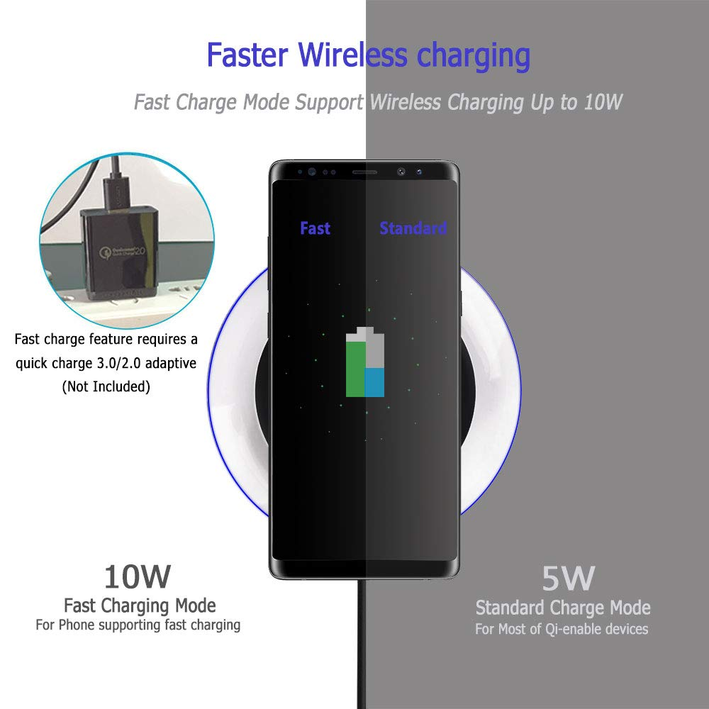 Qi Wireless Charger Pad for iPhone X, iPhone 8/8 Plus, Provide Fast Charge for Samsung Galaxy S8/S8 Plus, S7 Edge, S6 Edge Plus, Note 8, Note 5(Black)