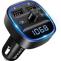 [2021 Versión] LENCENT Transmisor FM Bluetooth para Coche, Manos Libres Inalámbrico Reproductor MP3 Coche, Adaptador de…