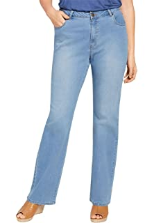 720f543ea657f Woman Within Plus Size Side-Elastic Straight Leg Cotton Jean at ...