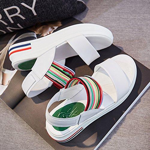 Les Sandales En Cuir Avec Des Dessous De Muffins Femmes Été Coloré De Tep,White,Eu36Cn37