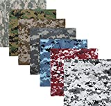 7 Pack - Digital Camouflage Cotton Military Bandanas (22'' x 22'')