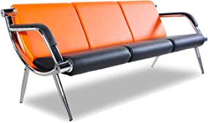 BORELAX 3-Seat Office Reception Chair PU Leather Waiting Room Bench Visitor Guest Sofa Airport Clinic Orange & Black