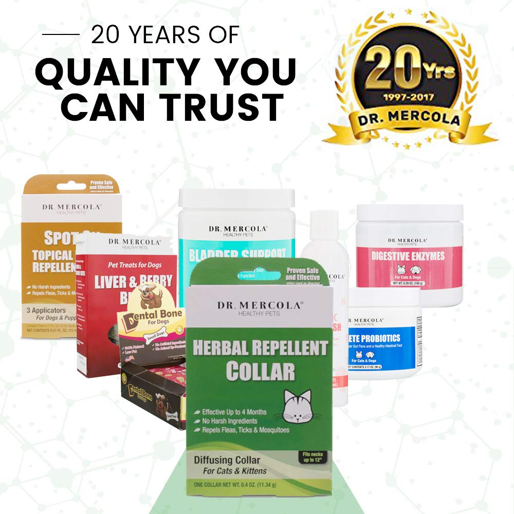 Dr Mercola Herbal Repellent Collar For Cats & Kittens with Natural Active Ingredients, Long-lasting Flea Prevention - Odorless, Safe & Waterproof Flea Collars Effective Up To 4 Months, Necks up to 12''