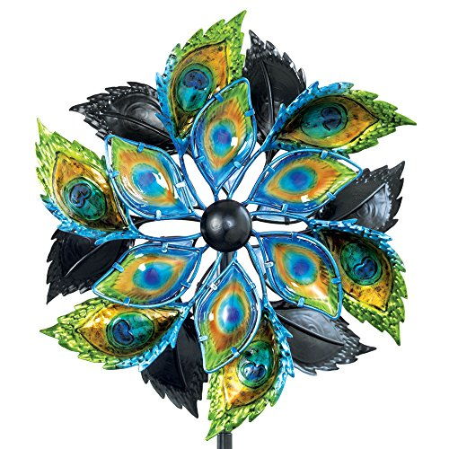 Wind Spinner Pinwheel (Bits and Pieces - Peacock Feather Wind Spinner - 14 Inch Decorative Kinetic Wind Mill - Unique Outdoor Windspinner Lawn and Garden Décor, Lawn Ornament)