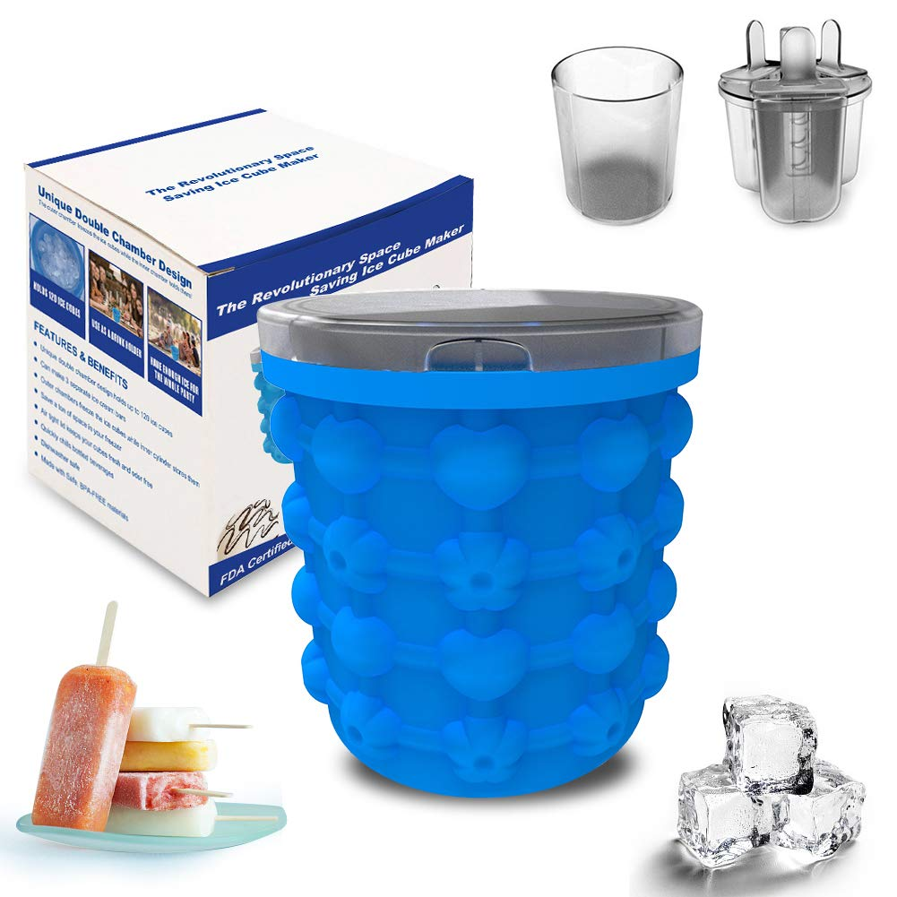 silicone ice bucket Silicone ice bucket with lid for multi-purpose ice cubes, frozen and refrigerated food, with DIY ice cream mold, inner cup with frozen ice cream, bartending