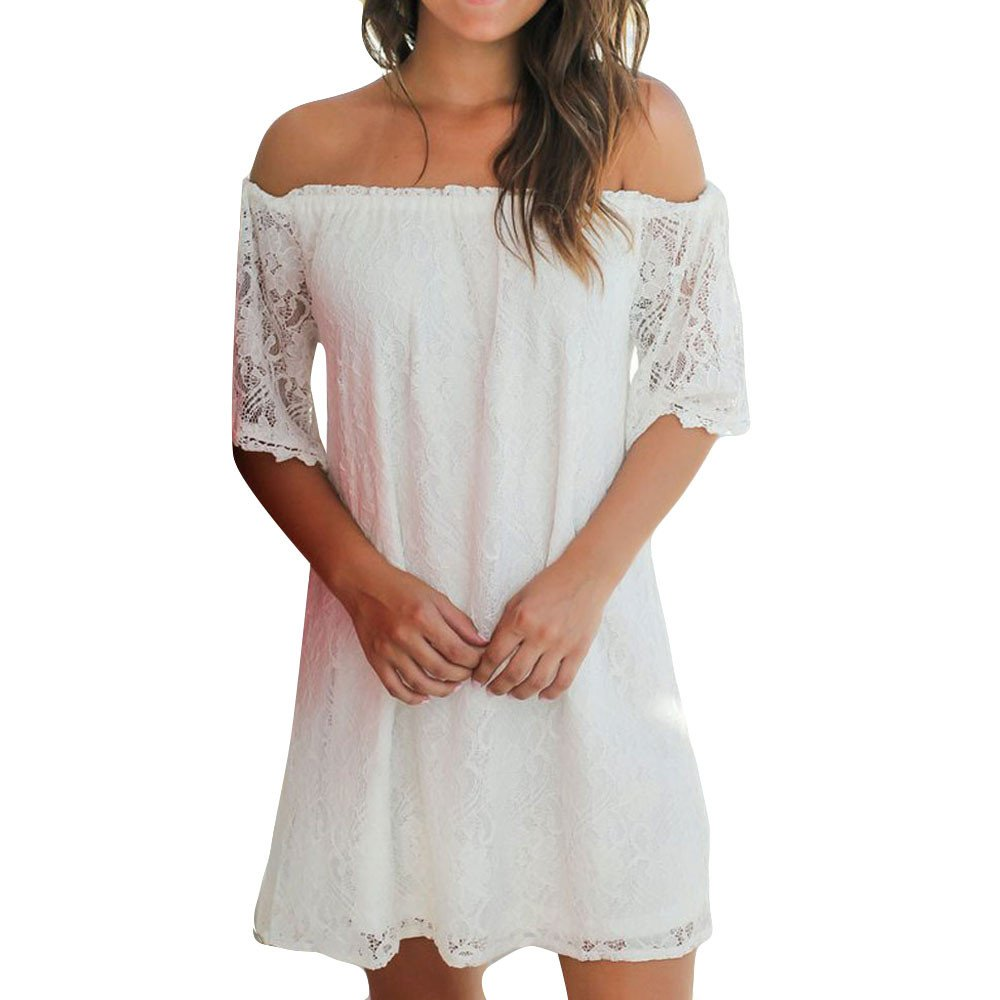 HHei_K Womens Summer Sexy Solid Lace See-Through Off Shoulder Wrapped Chest Straight Mini Dress