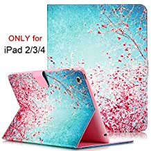 iPad 2/3/4 Case, Dteck(TM) Elegant Slim-Fit Leather [Card Slots & Money Holder] Wallet Case [Auto Sleep/Wake Feature] Smart Cover for Apple iPad 2/iPad 3/iPad 4 (01 Red Plum Blossom)