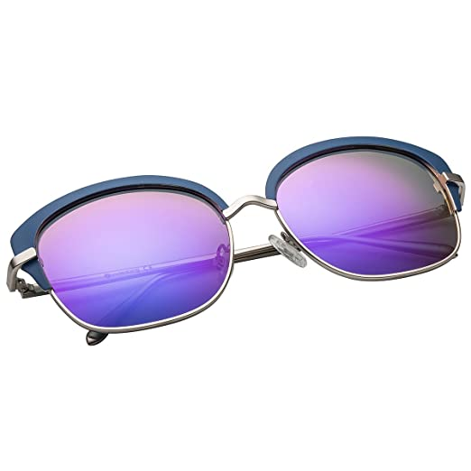 eb95c6d213 VIVIENFANG Classic Elegant Women Semi Rimless Mirrored Polarized Cat Eye  Sunglasses 86804A Blue