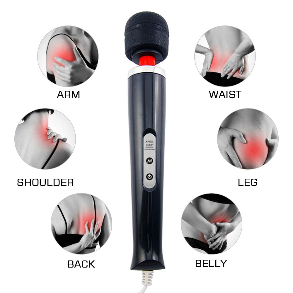Handheld Magic Corded Curved Therapeutic Wand Massager - April 14TH 10 Speeds for Muscle Aches & Sports Recovery, Non-Rechargeable, Travel Friendly, Black