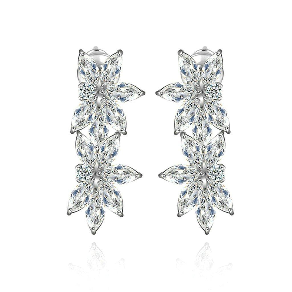 Daesar Gold Plated Earrings Womens Stud Earrings White Cubic Zirconia Earring Flower Dangle Earrings