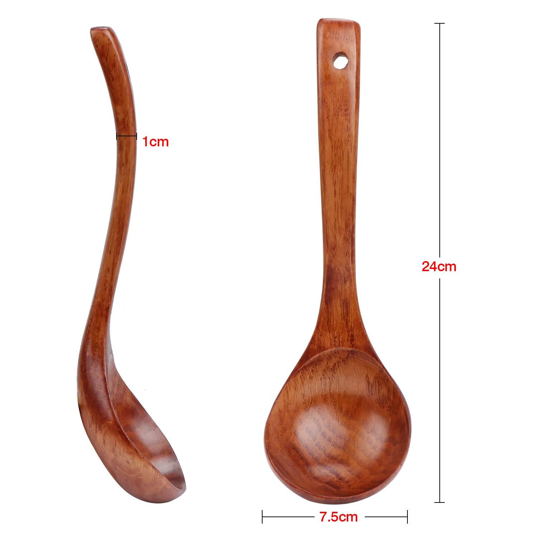 TsunNee Cuchar/ón de sopa de madera cuchara de sopa de madera natural cuchara de porridge de 9.45 pulgadas de largo