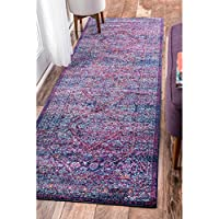nuLOOM Persian Mamluk Diamond Purple Runner Rug (28 x 8)
