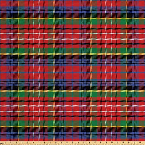 Ambesonne Plaid Fabric by The Yard, Caledonia Scottish Traditional Pattern Tartan Motif Abstract Squares Ornate Quilt, Decorative Fabric for Upholstery and Home Accents, 3 Yards, Red Green