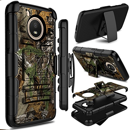 Motorola Moto E4 Case, Moto E 4th Generation Case, Zenic Full-body Heavy Duty Shockproof Protective Hybrid Case Cover with Swivel Belt Clip and Kickstand for Moto E4 / G5 (Branches)