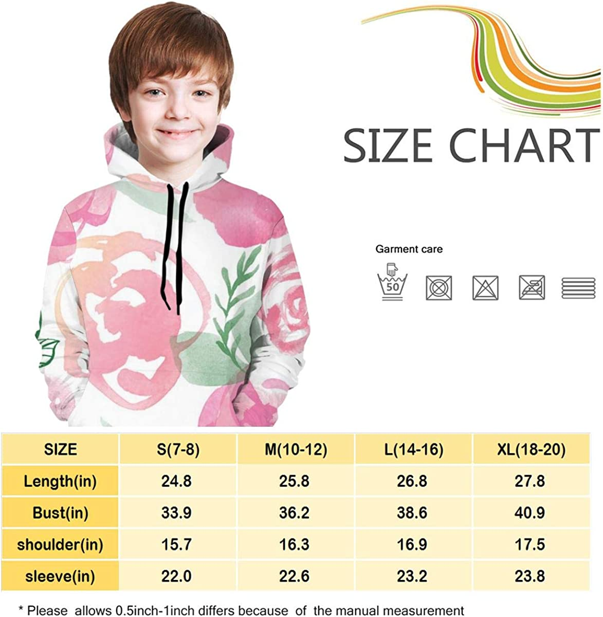 3D Print Pullover Hoodies with Pocket Flower Floral Soft Fleece Hooded Sweatshirt for Youth Teens Kids Boys Girls 7-20 Years