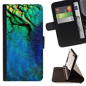 Peacock Feather Macro Neon Teal - Modelo colorido cuero de la carpeta del tirón del caso cubierta piel Holster Funda protecció Para Apple (4.7 inches!!!) iPhone 6 / 6S