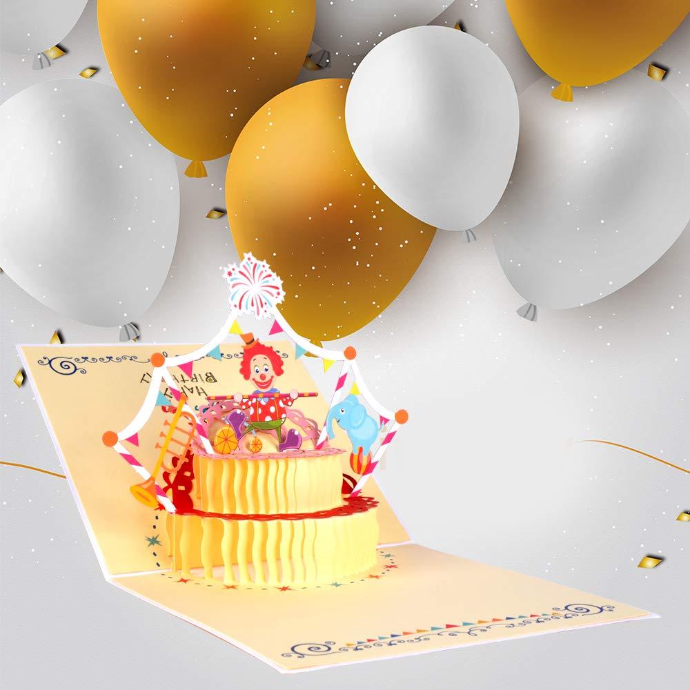 Racksoy 3D Geburtstagskarten 3 Stücke Pop Up Karten Katzenkarte  Geschenkkarte  Clown-Karte zum Kindergeburtstag- wünderbare Glückwünschkarte für Geburtstagsgrüße