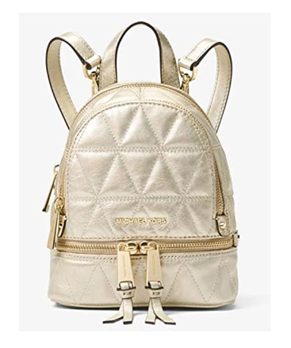 070a1d3377032a Amazon.com: MICHAEL Michael Kors Rhea Mini Metallic Quilted Leather Backpack  in Pale Gold: Shoes