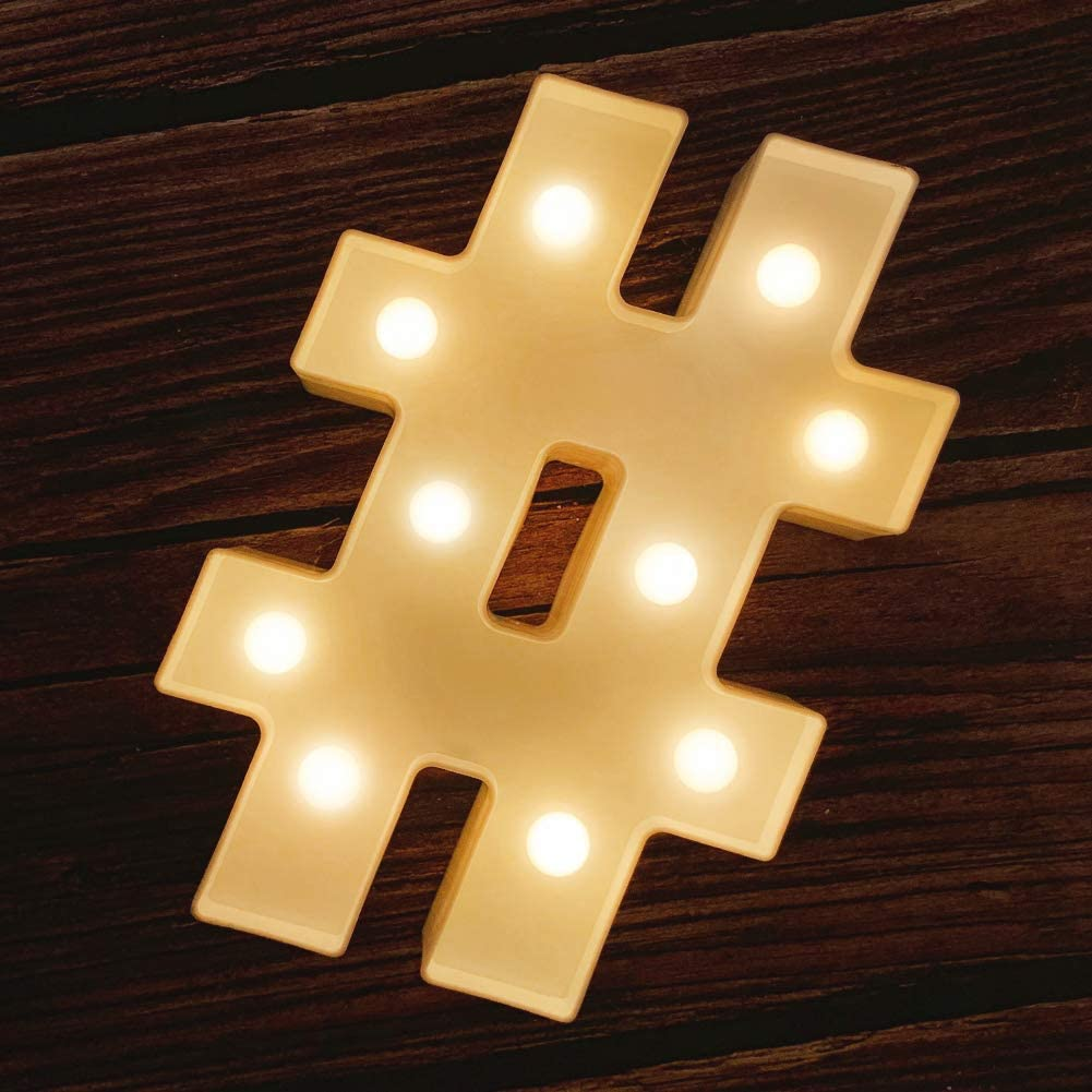 MUMUXI LED Marquee Letter Lights 26 Alphabet Light Up Marquee Number Letters Sign for Wedding Birthday Party Battery Powered Christmas Lamp Night Light Home Bar Decoration (#)