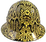 Texas America Safety Company Snakeskin Full Brim Style Hydro Dipped Hard Hat - Yellow