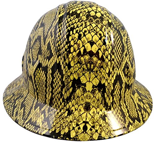 Company Snake - Texas America Safety Company Snakeskin Full Brim Style Hydro Dipped Hard Hat - Yellow
