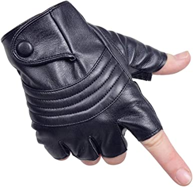 Driving Gloves Men Fingerless Leather Gloves Thin Half Finger Black Glove