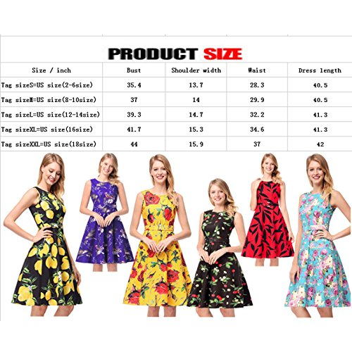 Evening Dresses Borje Print Short a Floral Red Retro S Party Dresses Cocktail Print Hepburn XXL Flare Multicolor 50s Ywq0Yx7