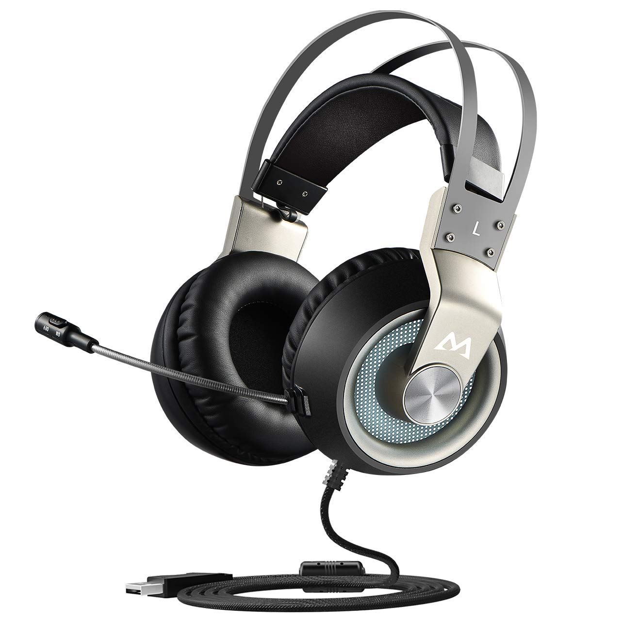 Mpow USB Gaming Headset, 7 1 Surround Sound Gaming Headphones for FPS Game,  50mm Driver, Stereo Over-Ear USB Computer Headset with Noise Cancelling