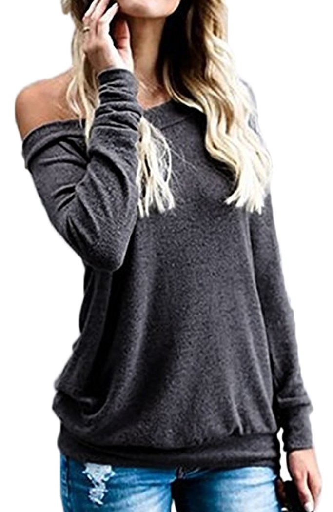 Off Shoulder Tops for Women Long Sleeve Baggy Loose Fit (M, Dark Gray)