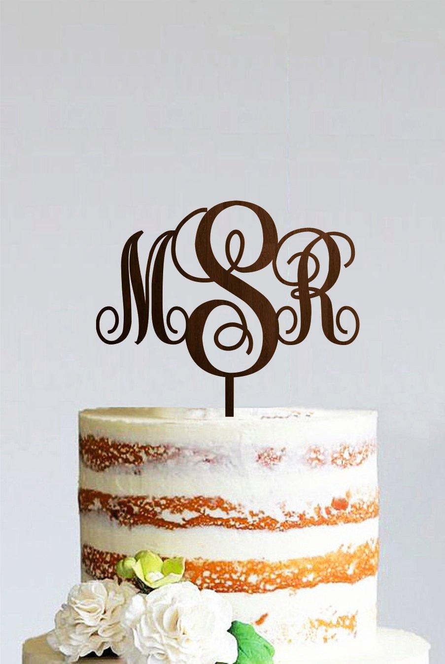 Wedding Monogram Cake Topper Wooden Initial Cake Topper Custom Monogram Cake Topper