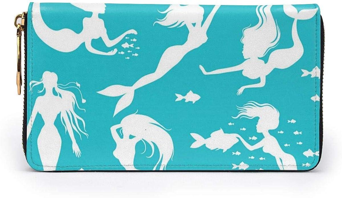 White Mermaids On Turquoise Womens RFID Blocking Zip Around Wallet Genuine Leather Clutch Long Card Holder Organizer Wallets Large Travel Purse