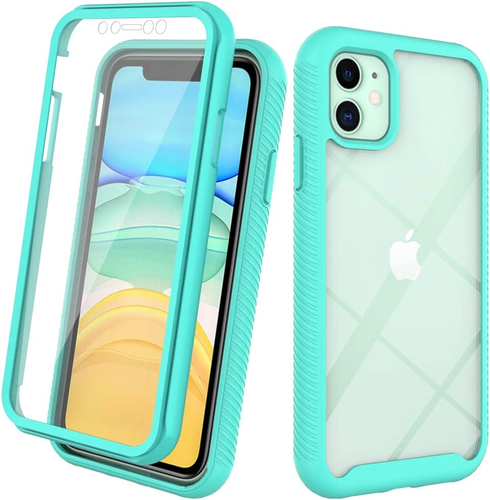 Compatible with iPhone 11 Case 6.1 inch Built-in Screen Protector Full Heavy Duty Protection Shockproof Clear Crystal Hard Back Soft TPU Cover Case (Mint)