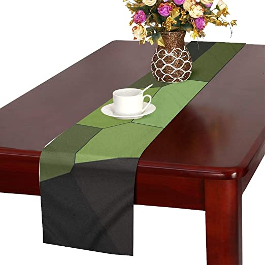 Amazon Com Jnseff Mosaic Structure Tile Color Green Table Runner Kitchen Dining Table Runner 16 X 72 Inch For Dinner Parties Events Decor Home Kitchen