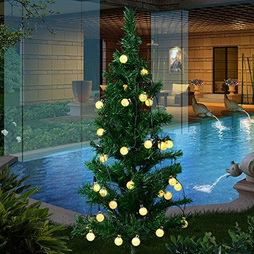 Oledank Solar Lichterkette Garten Globe Außen mit LED Kugel 6m 30er LED 2 Modi warmweiß Außenlichterkette Wasserdicht Beleuchtung für Weihnachten [Energieklasse A++]