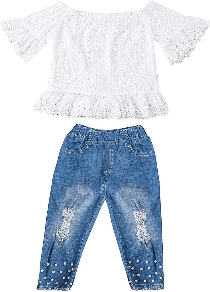 Jeans 2er Outfits Sets Xmiral Kid M/ädchen Kurzarm Boot-Ausschnitt Tops