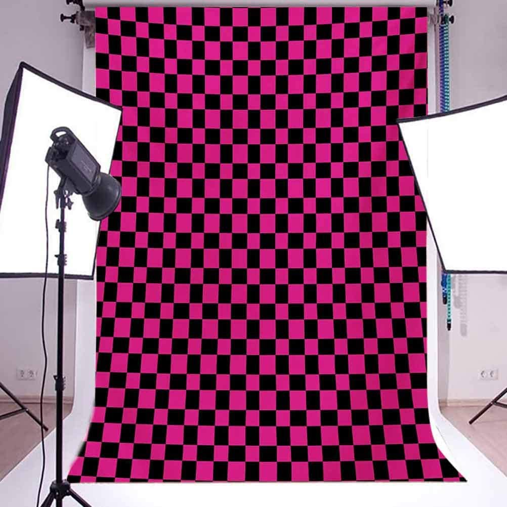Hot Pink 10x12 FT Photography Backdrop Old Fashioned Gingham Checks in Vibrant Colors Modern Display Geometric Simple Background for Photography Kids Adult Photo Booth Video Shoot Vinyl Studio Props