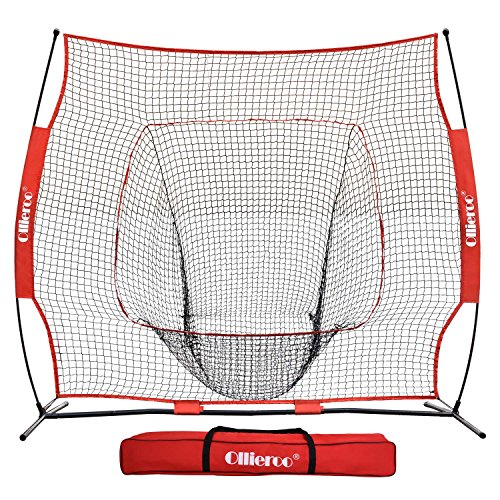 Ollieroo 7'x7' Baseball Softball Practice Net Hitting, Pitching, Backstop Screen Equipment Training Aids Red/Black, Includes Carry Bag - Baseball Backstop Netting