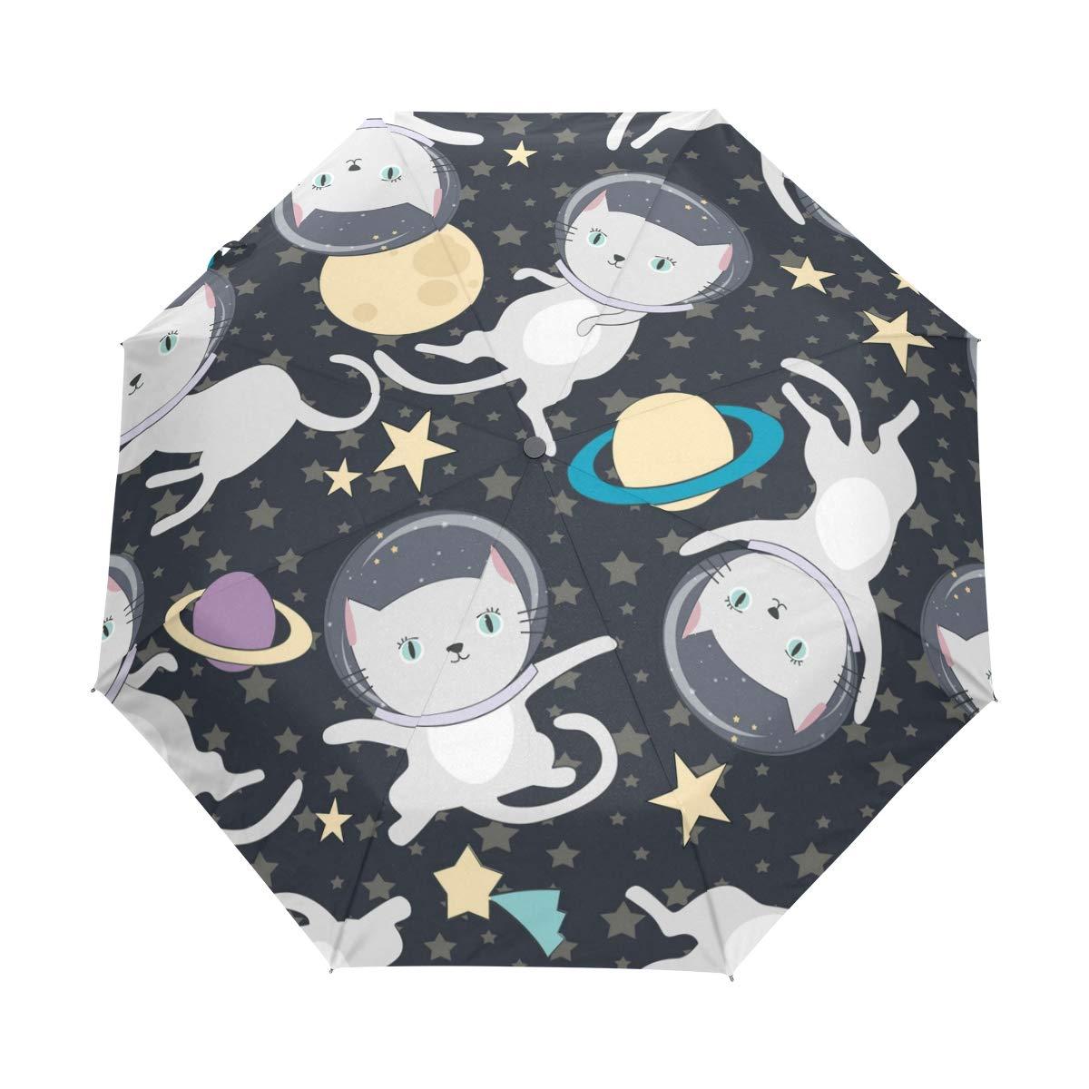 FORMRS 3 Folds Umbrella Fun Cat Astronau Auto Open Close Anti-UV Umbrella by FORMRS (Image #1)