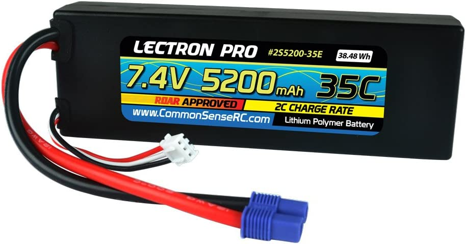 Lectron Pro 7.4V 5200mAh 35C Lipo Battery with EC3 Connector for 1/10 Scale Cars, Trucks, and Buggies