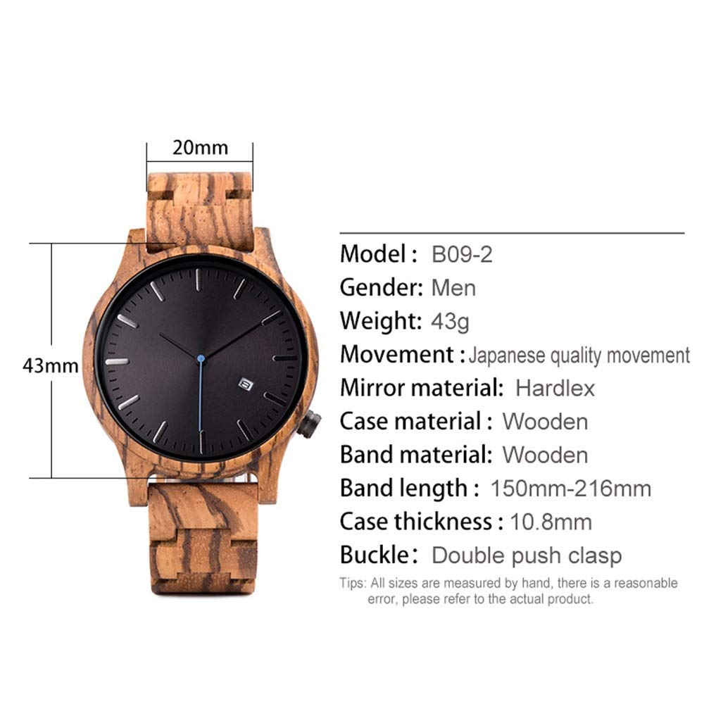 # klockor herr ebenholts träkalender multifunktionsklocka, kvartsrörelse, är den bästa högtidspresenten för älskare, vänner armbandsur b