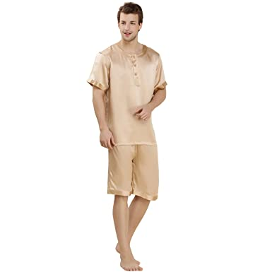 LoveSilk Men s 100% Silk Pajamas Shortsleeve Sleepwear Gift Gold Size M 10761e5cc