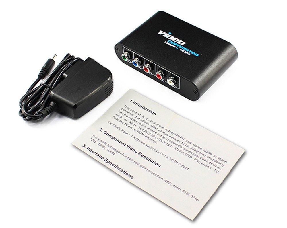 5 Convertitore RCA Ypbpr a HDMI PS2 XBOX WII Ad HDMI Adattatore connettore audio video HDTV con cavo di alimentazione USB