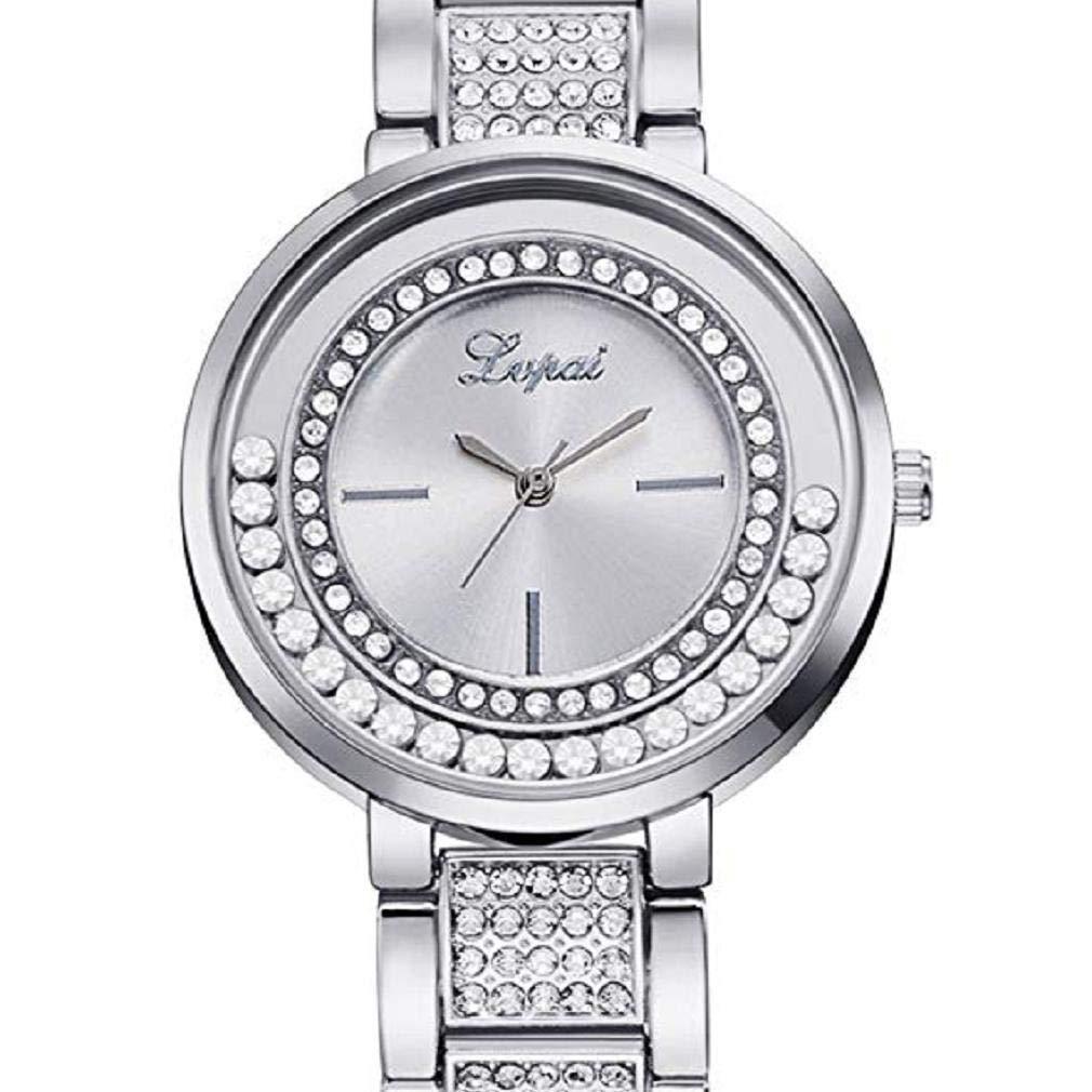Scpink Mujeres Relojes de Cuarzo, Relojes de Damas de liquidación Crystal Rhinestones Puede Mover Relojes Femeninos Reloj de Regalo analógico de Acero ...