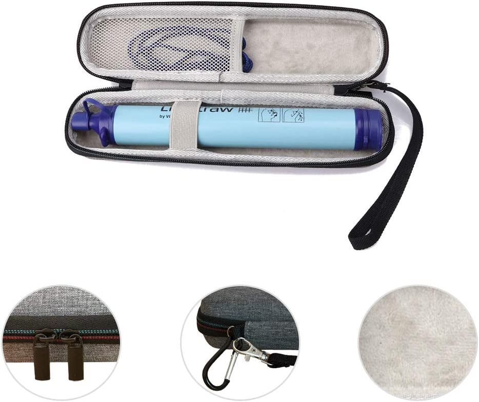 Hiking Storage Case for LifeStraw Steel Personal Water Filter Sewage Purification Storage Grey with Hand Strap and Clip Arkelf Hard Travel Carrying Case for LifeStraw Personal Water Filter