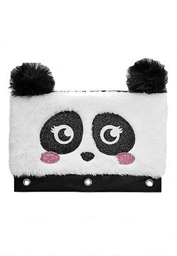Justice for Girls Fur Panda Binder Pencil Case Pouch