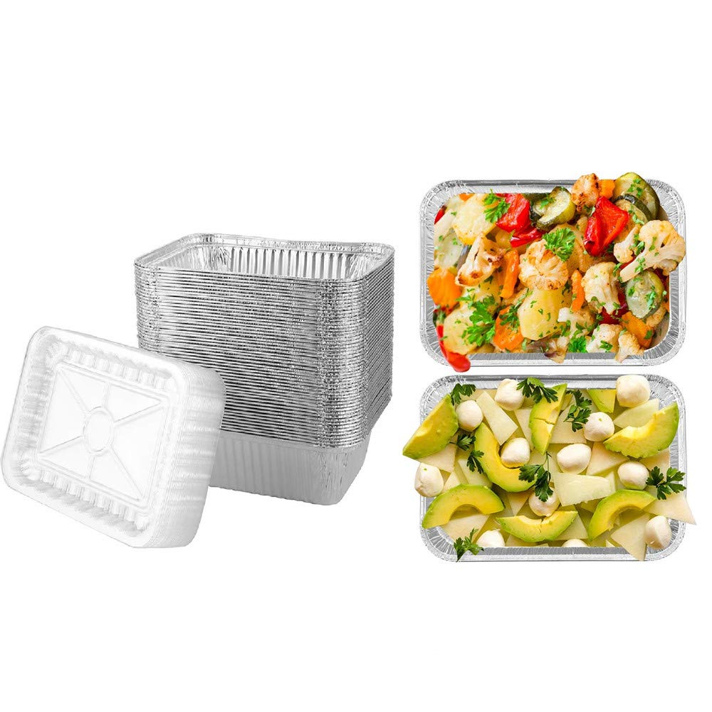 Brandon super Heavy Duty Disposable Aluminum Oblong Foil Pans, Plastic Cover, Recyclable Tin Food Storage Tray, Safe Disposable Aluminum Material, Suitable for Cooking, 50PCS Thickened 8