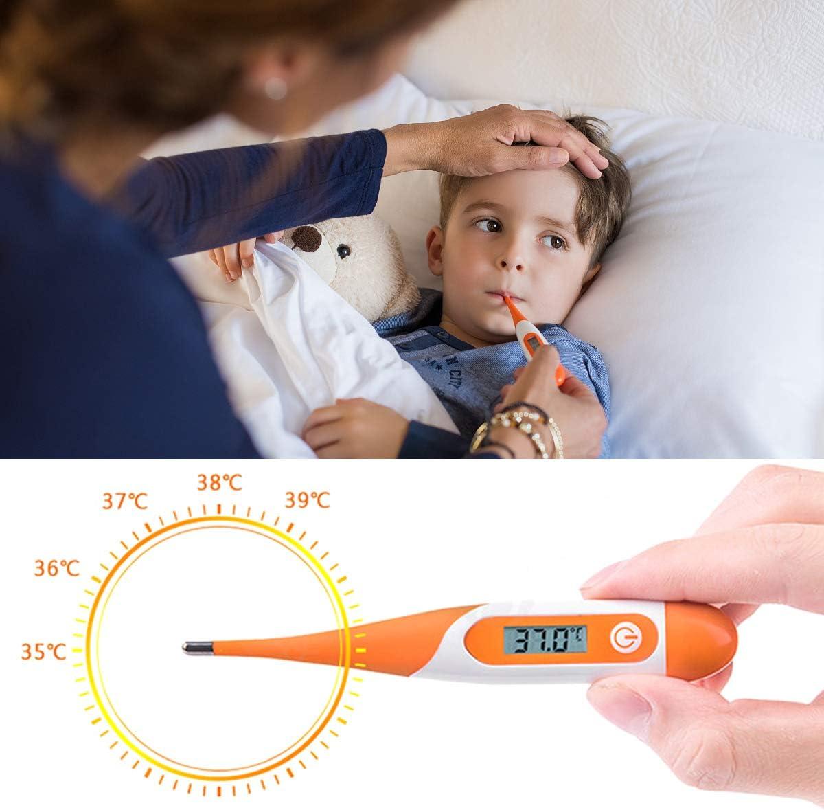 DERCLIVE Digitales Medizinisches Thermometer Baby Kinder Flexible Spitze Mundh/öhle Temperaturmesser