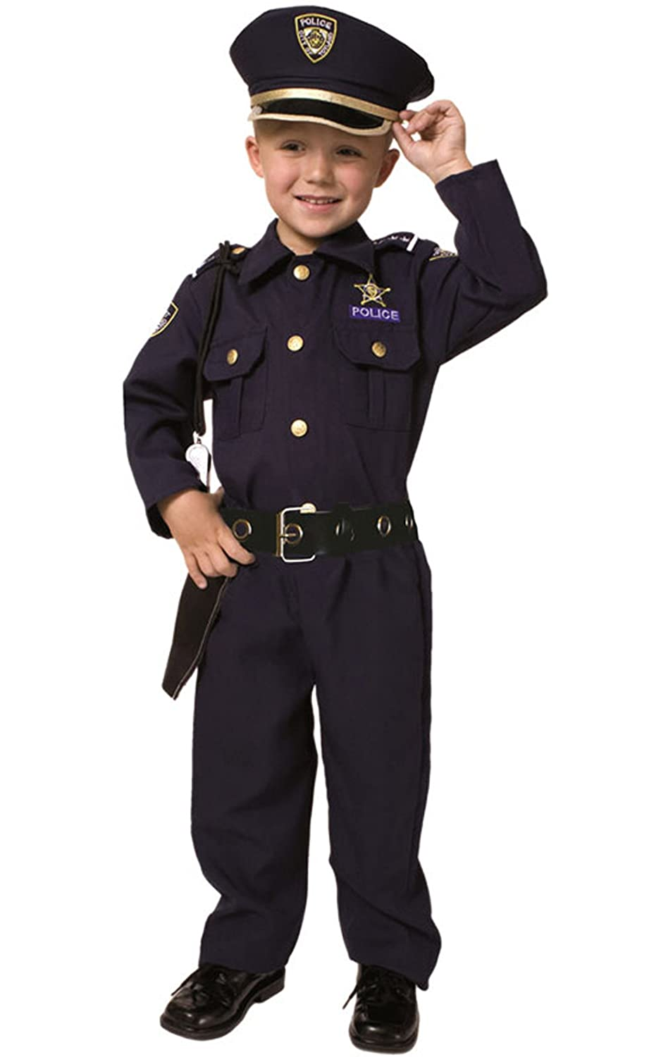 Dress Up America Deluxe Police Dress Up Costume Set - Includes Shirt,  Pants, Hat, Belt, Whistle, Gun Holster