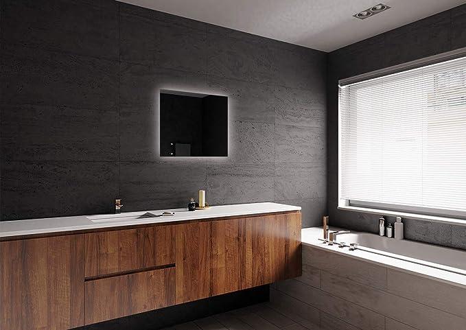 Specchio per Bagno Pronto per Essere Appeso Specchio con Illuminazione ARTTOR M1CP-50-40x40 Specchio a Muro Dimensioni dello Specchio 40x40 cm Specchio LED Premium Bianco Caldo 3000K
